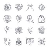 Set of  bitcoin line icons. Investments, payments and exchange, internet banking, wallet, bundle of money, hand with a coin. And more. Editable Stroke. EPS 10 Royalty Free Stock Photo