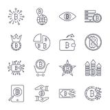Set of  bitcoin line icons. Investments, payments and exchange, internet banking, wallet, bundle of money, hand with a coin Royalty Free Stock Image
