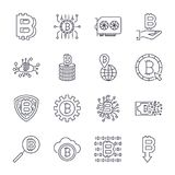Set of  bitcoin line icons. Investments, payments. And exchange, internet banking, wallet, bundle of money, hand with a coin and more. Editable Stroke. EPS 10 Royalty Free Stock Photos