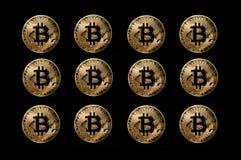 Set bitcoin monety, cyfrowa waluta tworzył dla use online anonimowych transakcj ilustracja wektor