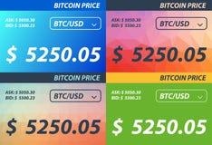 Set Bitcoin price banner Royalty Free Stock Image