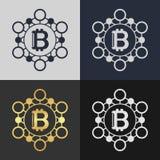 Set of bitcoin symbol templates. Royalty Free Stock Photo