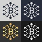 Set of bitcoin symbol templates. Royalty Free Stock Photos