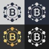 Set of bitcoin symbol templates. Royalty Free Stock Photography