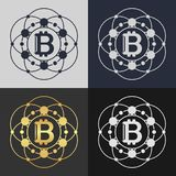 Set of bitcoin symbol templates. Royalty Free Stock Images