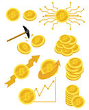 A set of bitcoins. A collection of gold coins of bitcoin. Vector set of logos and infographics of electronic money Royalty Free Stock Images