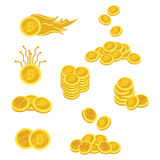 A set of bitcoins. A collection of gold coins of bitcoin. Vector set of logos and infographics of electronic money. Mining of crypto currencies Royalty Free Stock Photography