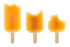 Set of bitten orange popsicle Stock Image