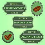 Set of bitter sweet coffee on green badge Stock Image