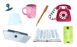 Set biuro i nauka stacjonarna ilustracja wektor