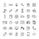 Set biurowe ikony w nowożytnym cienkim kreskowym stylu Zdjęcia Royalty Free