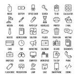 Set biurowe ikony w nowożytnym cienkim kreskowym stylu Zdjęcie Royalty Free
