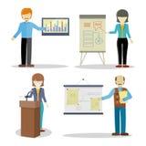 Set biznes Trenuje charaktery w Płaskim projekcie Obrazy Stock