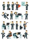 Set biznesmenów charaktery w różnych pozach w mieszkanie stylu odizolowywającym na białym tle