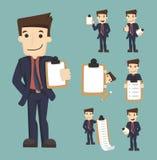 Set biznesmenów charaktery z listą kontrolną Zdjęcie Stock