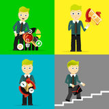 Set biznesmen pozy charakteru pojęcia Obraz Stock