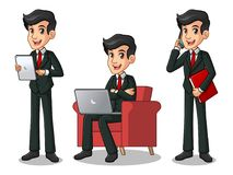 Set biznesmen w czarnym kostiumu pracuje na gadżetach Zdjęcie Royalty Free