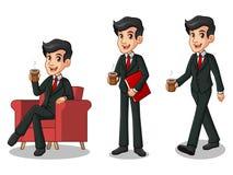 Set biznesmen w czarnym kostiumu robi przerwie z pić kawę Obraz Stock