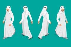 Set biznesmena Arabski mężczyzna na białym tle Isometric charakter pozy Kreskówek ludzie Tworzy twój swój projekt dla Obrazy Royalty Free