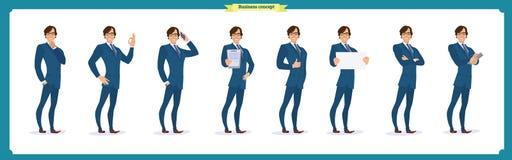 Set biznesmena charakter pozuje, gesty, akcje, ciało elementy Odizolowywający na bielu ilustracja wektor