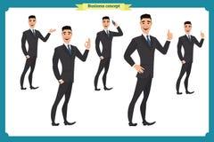 Set biznesmena charakter pozuje, gesty, akcje, ciało elementy Odizolowywający na bielu royalty ilustracja