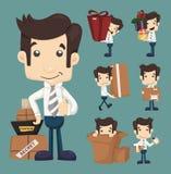 Set biznesmena poruszający biuro i kocowanie w pudełko charakterach Zdjęcie Stock