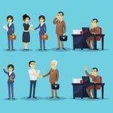 Set biznesmeni i pomyślni przedsiębiorcy royalty ilustracja