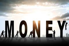 Set biznesmeni pcha słowo pieniądze fotografia stock