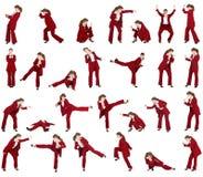 Set - biznesowa kobieta w różnych bojowych posturach Zdjęcia Royalty Free