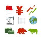 Set biznesowe grafika Ustawia inografika chińczyka rynek zbiera Zdjęcie Royalty Free