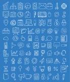 Set biznesowe ikony, ręka rysująca wektorowa ilustracja Obrazy Royalty Free