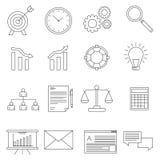 Set biznesowe ikony w kreskowym stylu Zdjęcia Stock