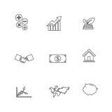 Set biznesowej linii ikona, odizolowywający na białym tle 008 Zdjęcia Stock