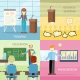 Set Biznesowi edukacj pojęcia w Płaskim projekcie Obrazy Stock