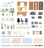 Set biznesowi elementy i meble tworzyć twój swój biurową wewnętrzną scenę ilustracja wektor