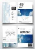 Set biznesowi szablony dla broszurki, magazynu, ulotki, broszury lub sprawozdania rocznego, Piękny niebieskie niebo, abstrakt Obraz Royalty Free