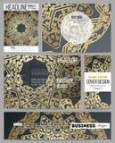 Set biznesowi szablony dla prezentaci, broszurki, ulotki lub broszury, Złoty mikroukładu wzór na ciemnym tle Fotografia Royalty Free