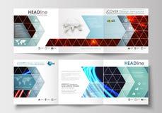 Set biznesowi szablony dla trifold kwadratowych broszurek Ulotki pokrywa, płaski układ, łatwy editable puste miejsce streszczenie Fotografia Royalty Free