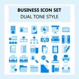 Set 30 Biznesowy i Biurowa ikona, mieszkanie styl z Podwójnym brzmienie kolorem, royalty ilustracja