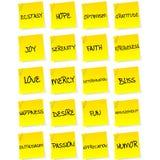 Set Blätter Papier mit negativen Gefühlen Stockfotografie