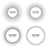 Set of Black Abstract Circle Frame Halftone Dots Logo Design Elements for medical treatment, cosmetic. Stock Image