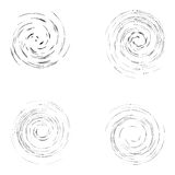 Set of black abstract curved circles isolated on the white backg Stock Image
