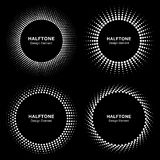 Set of Black Abstract Halftone Circle Frame Logo Royalty Free Stock Images