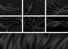 Set of black abstract smooth waves backgrounds vector illustration