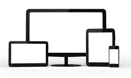 Set of black abstract tablet computer (tablet pc) Stock Photo