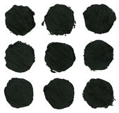 Set of black acrylic,ink brush strokes, spots Stock Photography