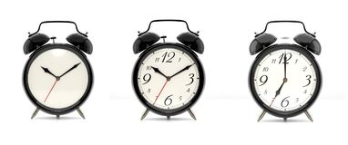 Set of 3 black alarm clocks. Set of 3 alarm clocks isolated on white background. Vintage style black clock with clean face, numbers and ringing clock. Graphic Royalty Free Stock Image