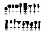 Set of Black Alcoholic Glass Silhouette Vector Royalty Free Stock Images
