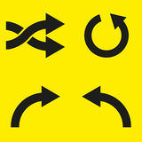 Set of black arrows on a yellow background. Vector illustration Royalty Free Stock Photography