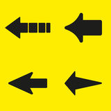 Set of black arrows on a yellow background. Vector illustration Stock Image